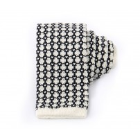 Dark Blue & White Houndstooth Knitted Tie