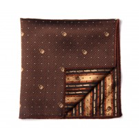 Brown Patterned Skull Pocket Square