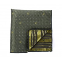 Green Patterned Skull Pocket Square