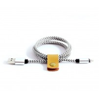 Black & White Braided Textile iPhone Cable