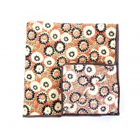 Orange & Beige Flower Pocket Square