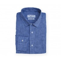 Albini Blue Mini Check Shirt