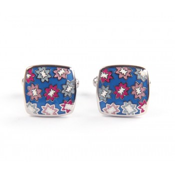 Blue Flower Cufflinks made in Italy