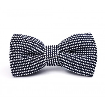 Dark Blue Two Tone Knitted Bow Tie