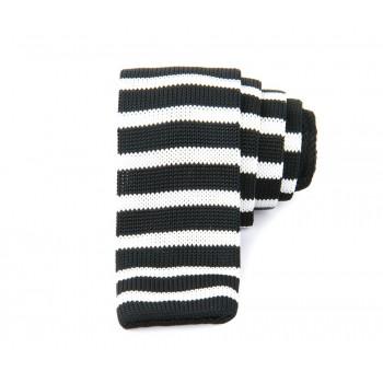 Dark Blue & White Slim Knitted Tie