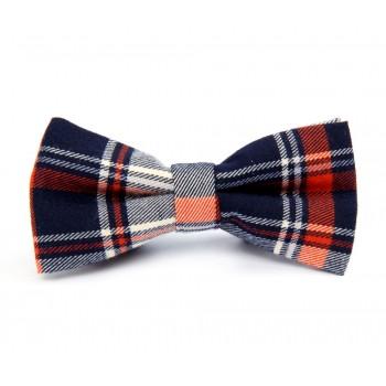 Dark Blue and Orange Plaid Bow Tie