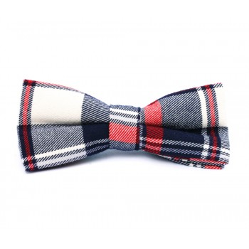 Dark Blue, Red and White Plaid Bow Tie
