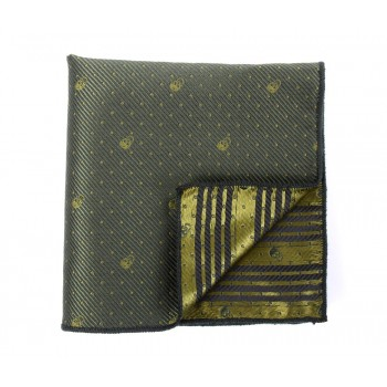 Green Patterned Skull Pocket Square