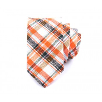 Orange and Grey Checkered Linen Tie