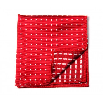Red & White Dot Pocket Square