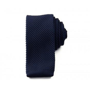Slim Knitted Dark Blue Tie