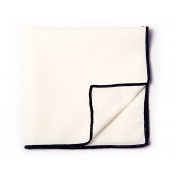 White & Black Solid Pocket Square
