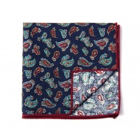 Blue & Red Paisley Pocket Square