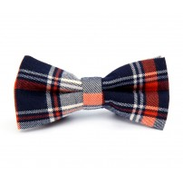 Dark Blue and Orange Plaid Bow Tie