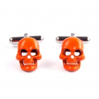 Orange skull cuff links