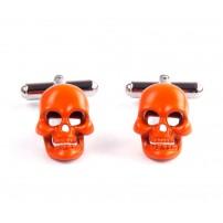 Orange skull cuff links