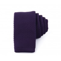 Slim Knitted Purple Tie