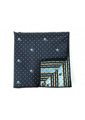 Blue Patterned Skull Pocket Square
