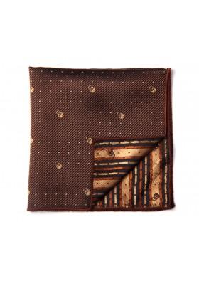 Brown Patterned Skull Pocket Square