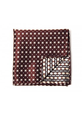 Brown & White Mini Flower Pocket Square