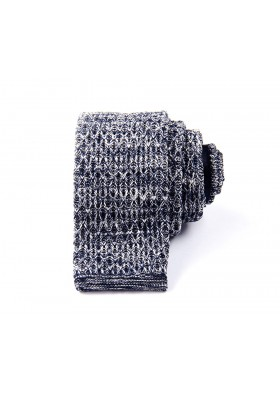 Dark Blue & White Diamond Knitted Tie