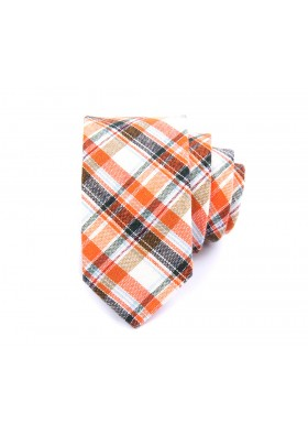 Orange and Grey Checkered Linen Tie
