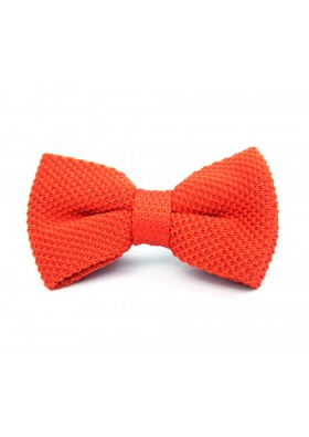 Orange Knitted Bow Tie