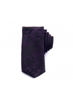 Purple Jacquard Flower Tie