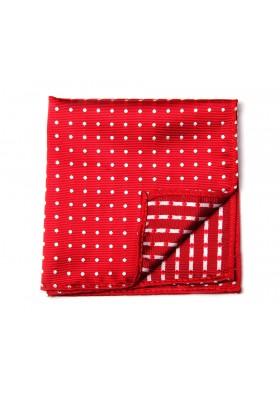 Red & White Dot Pocket Square