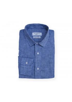 Albini Blue Mini Check Shirt