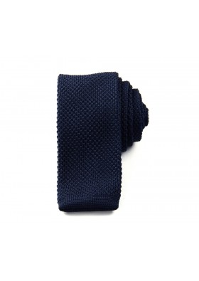 Slim Knitted Dark Blue Tie