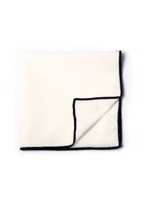 White & Black Solid Pocket Square