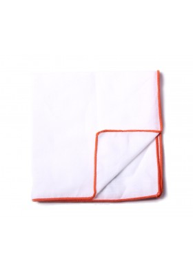 White & Orange Solid Pocket Square