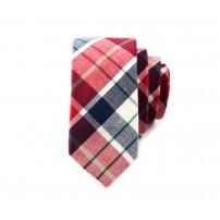 Rutmönstrad röd och svart slips