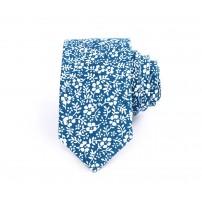 Blå och vit blommig slips