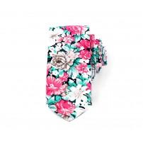 Turkos och rosa blommig slips
