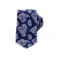 Mörkblå paisley slips