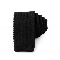 Smal svart stickad slips