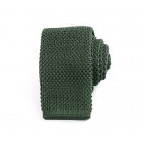 Smal skogsgrön stickad slips