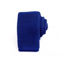 Smal kungsblå stickad slips